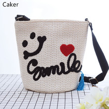 Caker 2017 Summer Women Embroidery Letter Totes Lady Hand-Made Knitting White Beige Holiday Beach Hand Bags Big Shoulder Bags