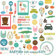 NEW! 61pcs/pack Baby Series Decorative Pre Die Cut Stickers for DIY Scrapbooking Planner/Card Making Craft