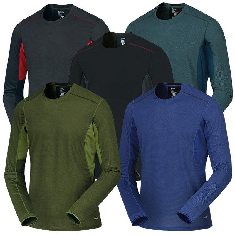 Spring Men Elastic Quick Dry T-shirt Male Outdoor Tees Long Sleeve Shirt Sport Breathable Soft Fabric Trekking Hiking Shirt