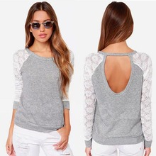 2017 New Brand Sexy Spring Women Backless Long Sleeve Embroidery Lace Crochet T Shirt Top Plus Size S-XXL Mujer Femme Feminino