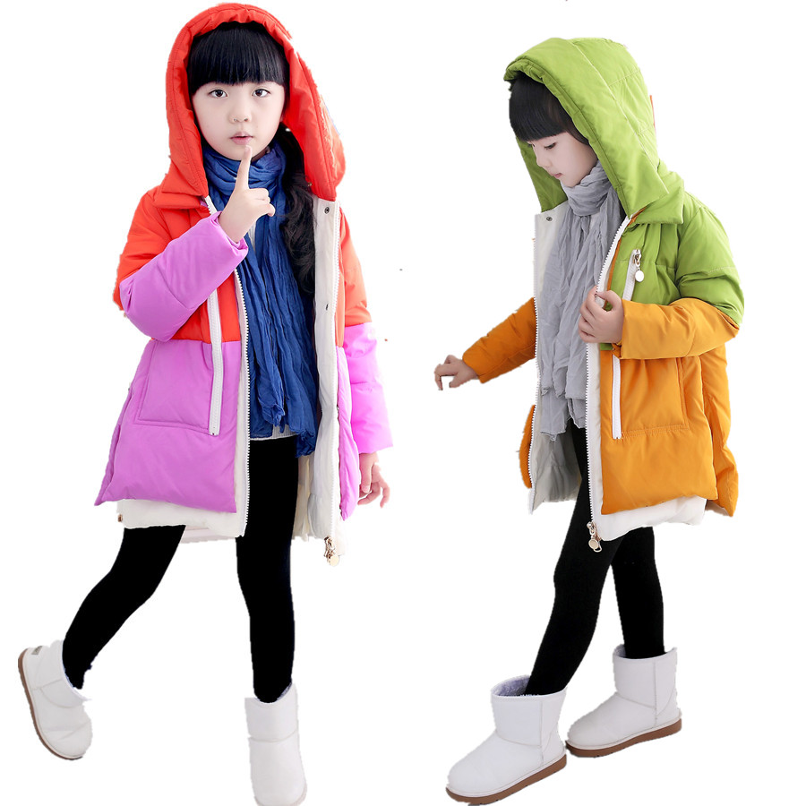 New 2017 Girls Winter Coats 80% Duck Down Jacket Hooded Thickening Parka For Children Outerwear Big Kids Long Patchwork 140-160<br>