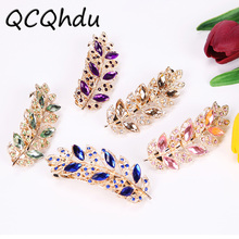 1PC Beauty Women Fashion Hair Clip Leaf Crystal Rhinestone Barrette Hairpin Headband Hair Jewelry(China)