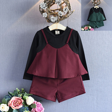 2 Pcs Kids Girls Clothing Set Spring Little Girls Stitching Clothes Set Children Patchwork Suits Trendy Fashion Girls Outfits