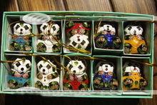 Collectibles10pcs Chinese Cloisonne /Enamel panda Christmas Ornaments Charms(China)