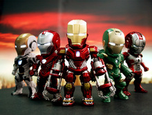 SAINTGI Ironman2345th Q Egg Box MK42 Attack Avengers Marvel Figures PVC LED Light 9cm Magic Animation Minifigures Globos