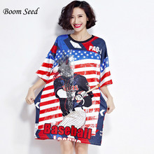 Boom Seed Women Tops American Style Stear Striped Letter Pprint T-shirt Half Sleeve O-Neck Loose Sequined Plus Size Female