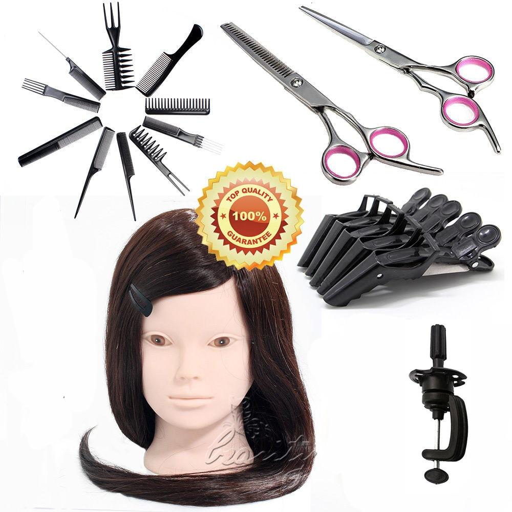 Hot Sale 24 Makeup Practice Mannequin Training Head 50% Real Salon Hair Styling Manikin + Salon Tools Kits B20Q<br><br>Aliexpress