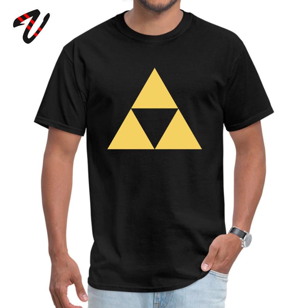 Gold Zelda triforce Pure Cotton Tshirts for Men Short Sleeve Tops & Tees Wholesale Summer Fall Round Collar Tops Shirts Leisure Gold Zelda triforce 3 947 black
