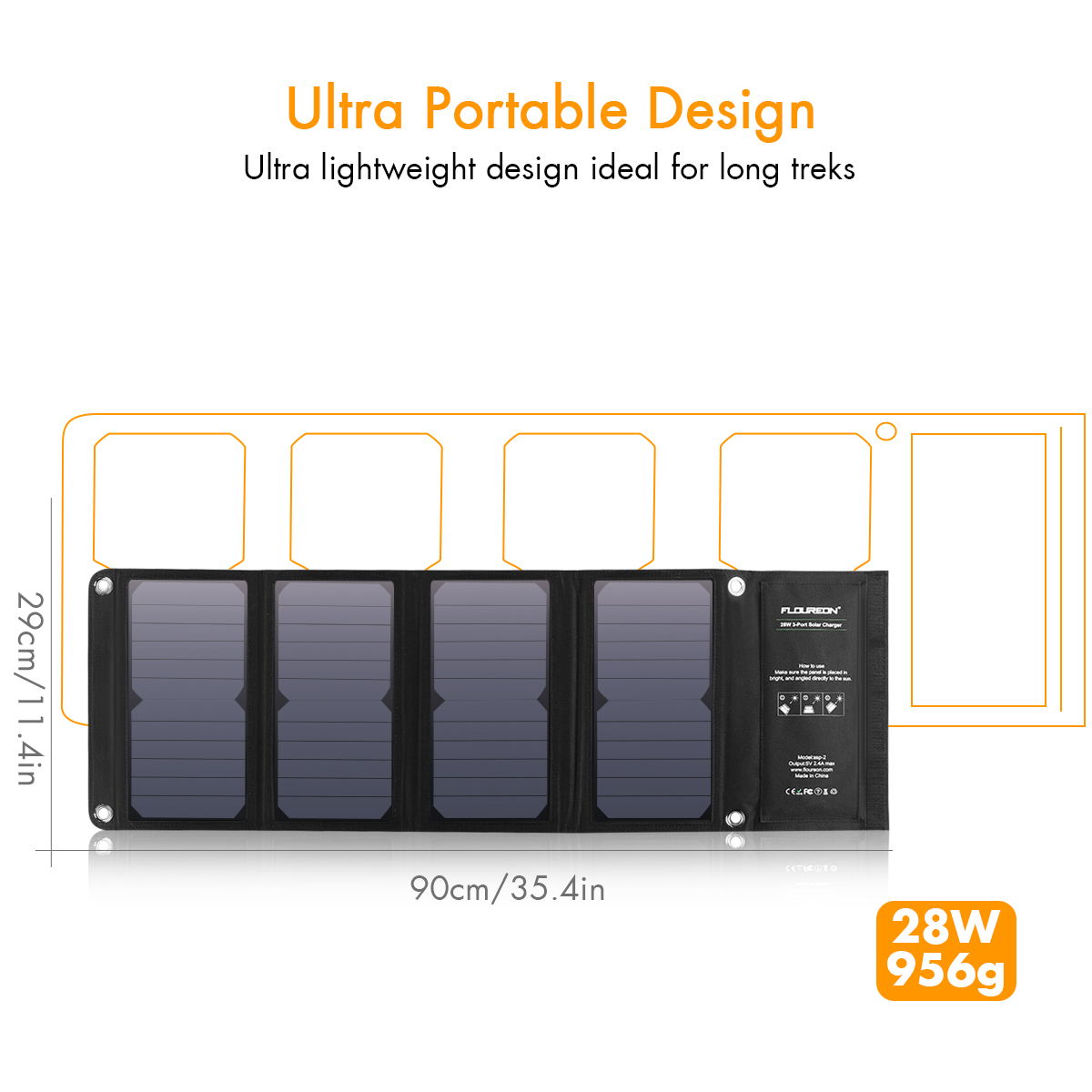 FLOUREON 28W Foldable Waterproof Solar Panel Charger Mobile Power Bank for Smartphones Tablets Triple USB Ports Outdoor 16