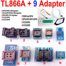 TL866A programmer +9 universal adapters PLCC Extractor TL866 AVR PIC Bios 51 MCU Flash EPROM Programmer Russian English manual