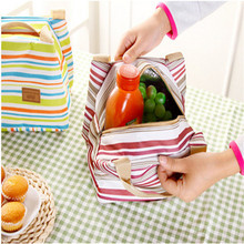2017 Thermal Portable Insulated Canvas Lunch Bag Stripe Food Picnic Totes Carry Case Lunch Box For Women kids Free Shipping S376