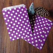 100pcs Zakka Purple Dots Paper Bags Strung Food Quality Craft Favor Candy Snack Bag Gift Treat Paper Bag Party Favor 5 x 7inch