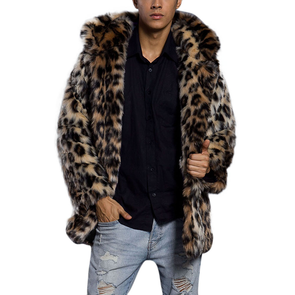 Fur Coat Mens Leopard Warm Thick Fur Collar Coat Jacket Faux Fur Parka Outwear Cardigan Drop Shipping
