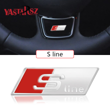 4PCS Car Styling RS Sline S line Steering Wheel Car Sticker 3D Aluminium Alloy Steering Wheel Badge Emblem Audi VW