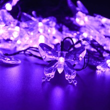LED Solar Powered Light Outdoor Butterfly Garden String Lights New Year Holiday Party Wedding Lamps 7.5M 40 leds