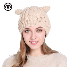 2017 Fashion Women Cat Ears Autumn Winter knitted Cap Twist Warm Skullies Female Bonnet Horns Cap Beanie Hedging Stocking Hat