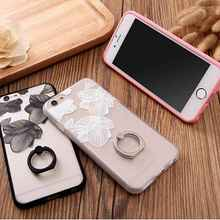 Sketch Style Flowers Leaves Case For iPhone 6 6s Plus Finger Rotated Ring Case,Metal Ring Standing Back Cover Shell