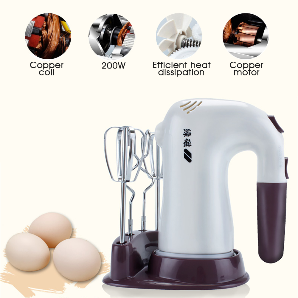 200W 5 Speeds Electric Blender Stainless Steel Egg Whisk Handheld Kitchen Mixer Beaters Cream Beater Fit Juice Pudding EU Plug<br>