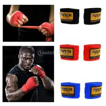 2pcs Inner Hand Wraps Gloves Boxing Fist Bandages MMA Muay Thai Hand Protector - Red/Blue/Black