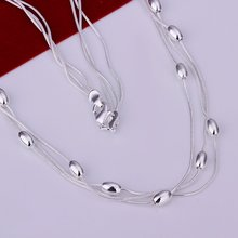 N214 Three Lines Light Bead Necklace Factory Price Free shipping 925 silver necklace.fashion jewelry necklace