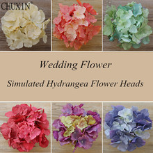 15PCS/LOT DIY artificial hydrangea flower heads silk single large flower decoration DIY wedding home handmade retro window decor