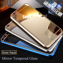 Hi-Q 9H Mirror Tempered Glass Full screen protector one set (front+back) screen Plating film guard for iphone 6 6s / 6 6s plus(China)