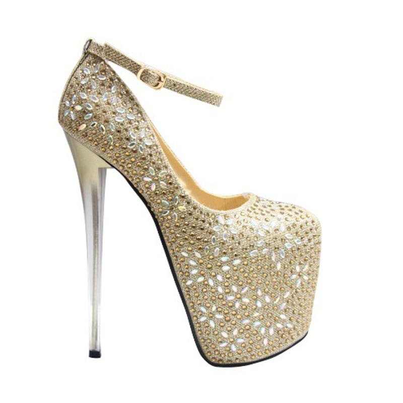 Size 34~43 Sexy 19 cm High Heels Shoes Women Pumps Rhinestone Five-pointed star pattern Ladies Chaussure Femme Zapatos Mujer<br><br>Aliexpress