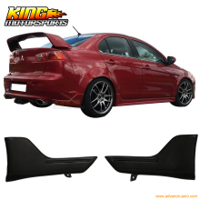 For 2008-2015 Mitsubishi Lancer Rear Bumper Lip Aprons 2PC Unpainted - PU Urethane USA Domestic Free Shipping