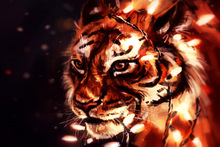 tiger garland predator animal art drawing LY27 living room home wall modern art decor wood frame fabric posters prints(China)
