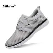 Viihahn Mens Shoes 2017 Men Casual Shoes Fashion Summer Breathable Mesh Upper Lace up Flats Light Male Footwear Plus Size 40-47(China)