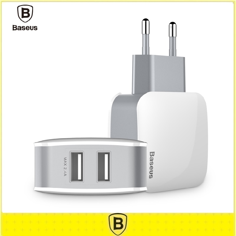 Baseus Universal Travel Wall Charger Adapter 2.4A EU US Plug Double USB Dual Ports Mobile Phone Charger For iPhone Tablet(China (Mainland))