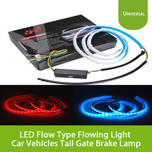 Universal 47inch 120cm Ice Blue Red LED Flow Type Flowing Light Car Vehicles Tail Gate Brake Lamp