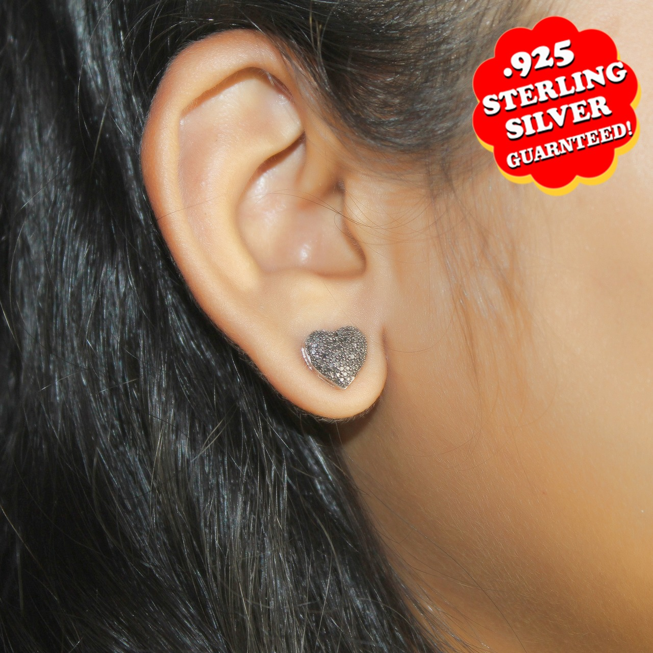 14K White Gold Over Silver 0.37Ct Round Black Real Diamond Heart Stud Earrings