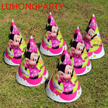 12pcs paper cap+12pcs string Mickey Minnie Mouse Birthday Cap for Kid birthday party supply decoration hat favor LUHONGPARTY
