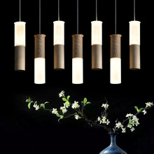 store decoration pendant lamps  Wood led pendant lights stick creative restaurant living room personality party clothing ZA