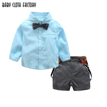 2017 spring baby boy clothes sets tie+solid shirt+suspender shorts 3pcs suits kids clothing sets infant gentleman wedding suits
