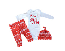 Christmas Infant Baby Girl Boys Long Sleeve Clothes Romper Pants Hat Outfit best gift ever(China)