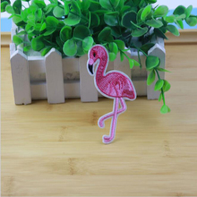 1 PC. Pink Flamingo Bird Friendly Iron On Patch Embroidered Applique, Embroidery Patch Stickers Apparel Apparel DIY Clothing Acc