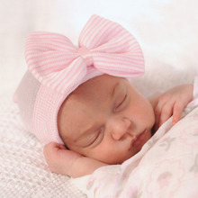2017 Cute Simple European Blue Pink White Big Bow Newborn Baby Girl Hospital Hats For Babies Cotton Knit Infant Beanies Caps