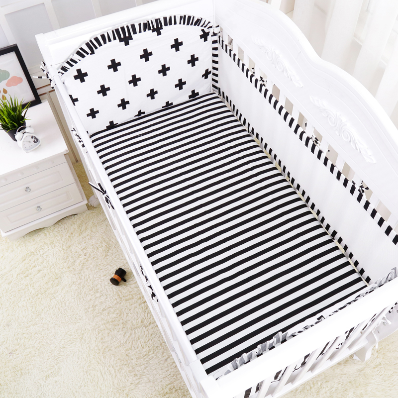 5pcs/set Breathable Mesh Cotton Baby Bedding Set, Multi-size Newborn Cot Bedding Set, Crib Bed Bumpers Set include bumpers sheet<br>