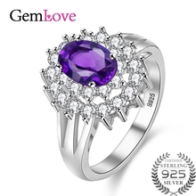 Gemlove Silver 925 Rings Real Diamond 0.5ct Amethyst Ring Sterling Silver Jewelry Natural Stones Women's Ring Anel 10% off CJ014