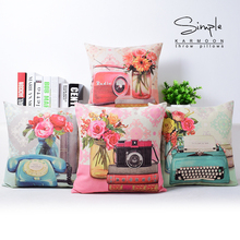 Pink Flower Camera Telephone Cushion covers Retro Radio Decorative Pillows Covers Throw Pillows Cases Bedroom Decoration  Gift