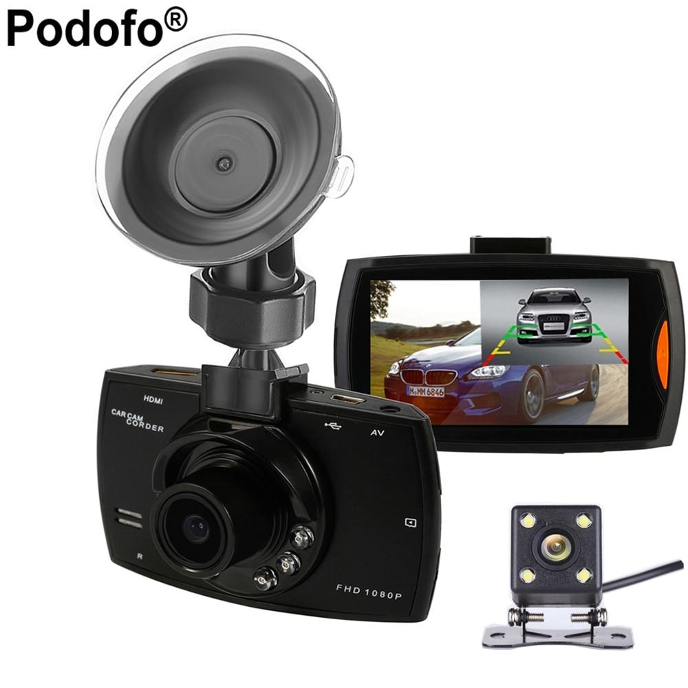 2017 New Podofo Two lens Car DVR Dual Camera G30 1080P Video Recorder With Rear View Cameras Loop Recording Camcorder BlackBox<br>
