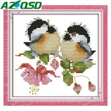 AZQSD Cute Chatted Birds 11CT&14CT Counted Cross Stitch Kits Home Decor Handmade Embroidery Cross Stitch Sets d735678y(China)