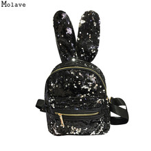 Fashion Women Backpack Sequin Stylish Cool PU Leather Rabbit Ear Backpack Female Hot Sale Women shoulder bag school bags SE04(China)