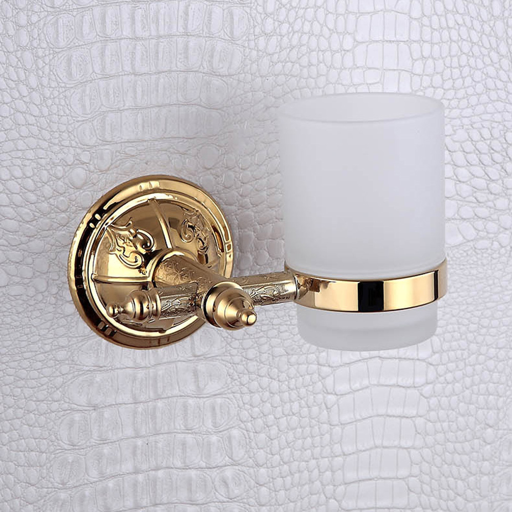 Toothbrush Holder Wall Mounted Golden Vintage Luxurious Antique Chinese Pattern Bathroom Glass Cup Single Tumbler Holders Decor <br>