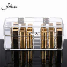 New Clear Acrylic 24 Grids Lipstick Holder Jewelry Display Stand Cosmetic Organizer Makeup Storage Bpx Case With Cover Dustproof