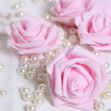 NHBR 100PCS Foam Rose Flower Bud Wedding Party Decorations Artificial Flower Diy Craft Light Pink(China)