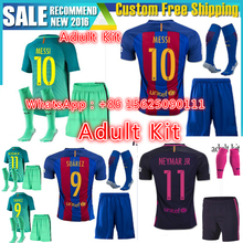 JGG BARCELONAS Top quality Thai AAA Qualit Adults Messis Soccer jersey Kit 2016 17 Home Away 3RD green men football shirt SS