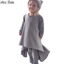 baby girl dress kids children black grey autumn&spring long sleeve cotton clothes casual baby clothing princess girls dresses(China)